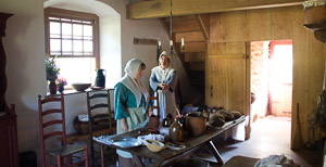 Preparing food in the 1726 Henry Antes House, Goschenhoppen Folk Festival, Perkiomenville, PA, Pennsylvania German,